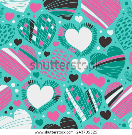 Colorful love ornamental pattern with hearts. Seamless scribble background. Doodle fabric texture with many romantic details - stock vector