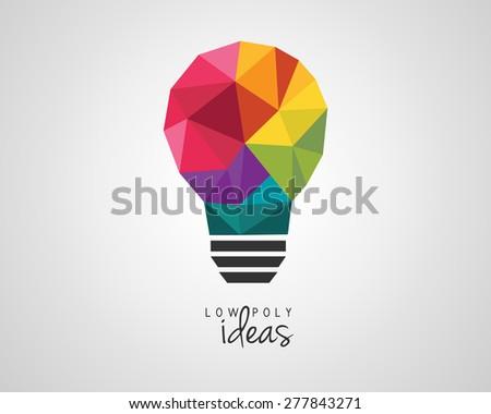 Colorful low poly light bulb as a creative idea symbol - stock vector