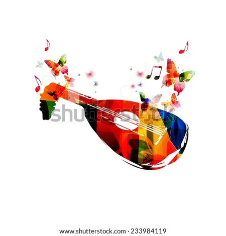 Colorful lute design with butterflies - stock vector
