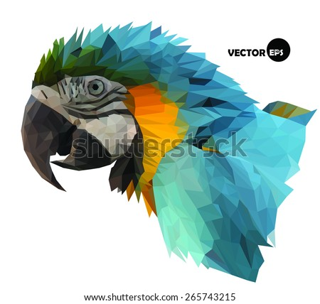colorful macaw parrot`s head visual identity in low polygon style on white background, vector illustration - stock vector