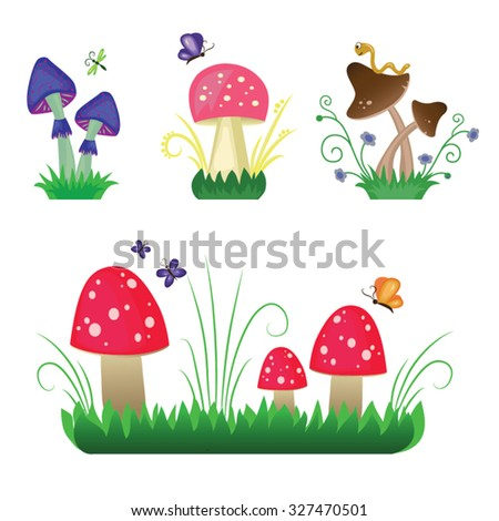 Colorful magic mushrooms. Nature insects and fungus.