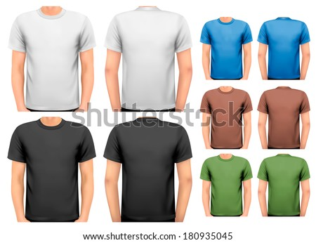 Colorful male t-shirts. Design template. Vector.  - stock vector