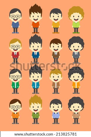 colorful man cartoon character set
