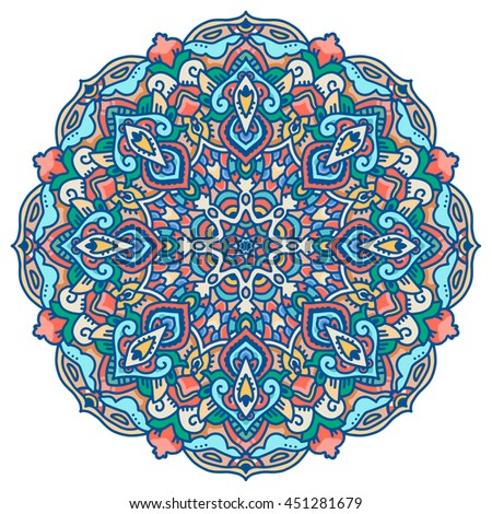 Colorful mandala isolated on white background. Vector Illustration. Can be used as package design element, t-short print etc. - stock vector