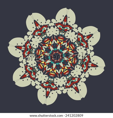 Colorful mandala over gray background. Vintage decorative element for flyer card. Hand drawn tribal style design. Islamic, arabian and indian, ottoman, asian motifs. - stock vector