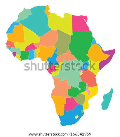 colorful map of Africa on white background - stock vector
