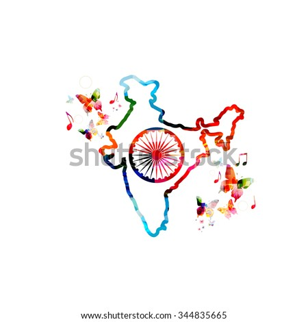 Colorful map of India with butterflies - stock vector