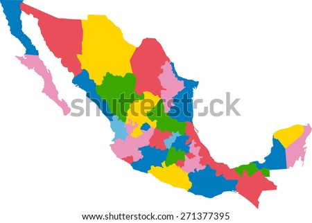 Colorful map of Mexico - stock vector