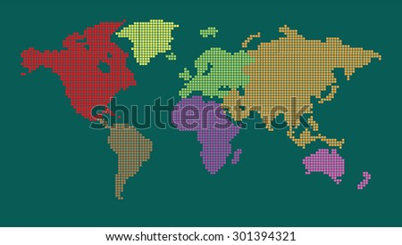 colorful map of the world pixel background. vector illustration. dot. table. square. Mosaic. ingographics. background for computer graphic website internet and technology. dark green blue background. - stock vector