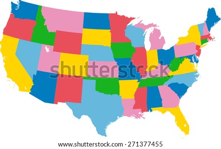 Colorful map of USA - stock vector