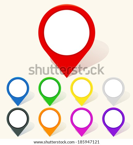 Colorful map pin icon in flat style. Vector illustration - stock vector