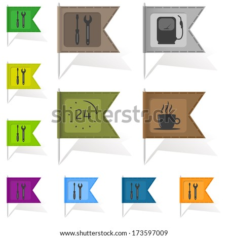 Colorful map pointers with flags and shadows. - stock vector