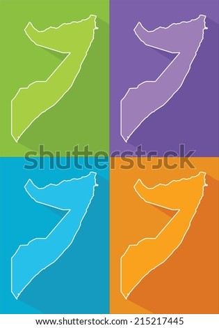Colorful map silhouette with shadow - Somalia - stock vector
