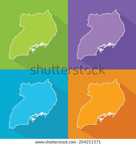 Colorful map silhouette with shadow - Uganda - stock vector