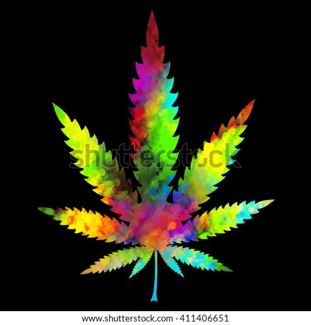 Colorful marijuana leaf on black background. vector illustration - stock vector