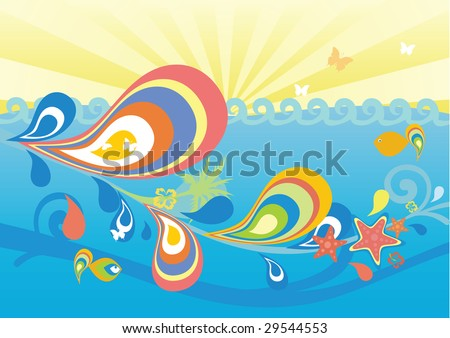colorful marine background with fish, flower, splash, wave, palm