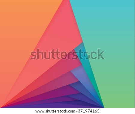 Colorful material design style wallpaper pattern. Abstract overlapping shapes in multiple vibrant gradient color combinations  - stock vector
