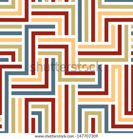 Colorful maze seamless pattern, geometric simple vector background. - stock vector