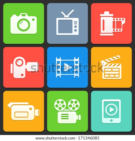 Colorful media icons for web and mobile. Vector illustration