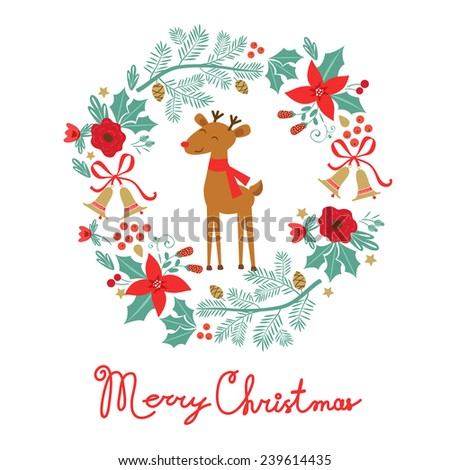 Colorful Merry Christmas card with holiday elements laurel and raindeer - stock vector