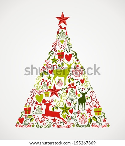 Colorful Merry Christmas tree shape with reindeers and holiday elements composition. EPS10 vector file organized in layers for easy editing. - stock vector