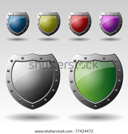 Colorful Metallic Shields - stock vector