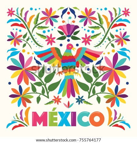 Colorful Mexican Traditional Textile Embroidery Style From Tenango Hidalgo Mexico Copy Space Floral