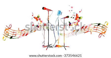 Colorful microphones with butterflies - stock vector