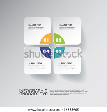 Colorful Minimal Paper Cut Infographics Design - Round Squares - stock vector