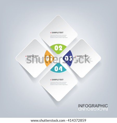 Colorful Minimal Paper Cut Infographics Design - Rounded Squares - stock vector
