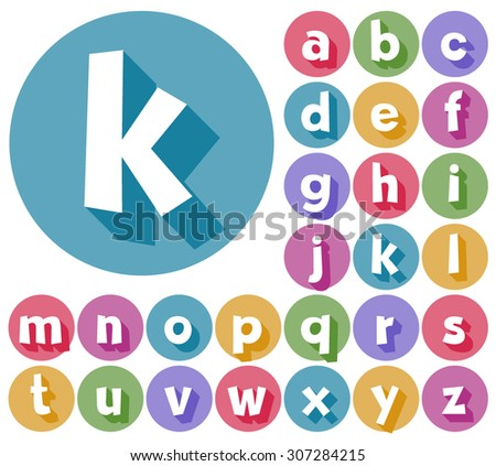 Colorful minimalistic vector alphabet in cartoon style. Lowercase letters - stock vector