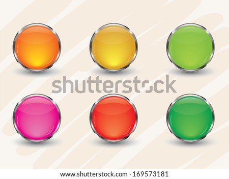 Colorful mix glass  glossy button