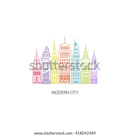 Colorful Modern Big City with Buildings and Skyscraper, Architecture Megapolis, City Financial Center , Architecture Concept, Logo Design Element, Emblem for Real Estate , Linear Style Design, Vector  - stock vector
