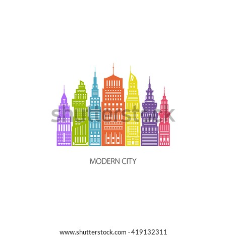 Colorful Modern Big City with Buildings and Skyscraper, Architecture Megapolis, City Financial Center , Flat , Architecture Concept,  Logo Design Element, Emblem for Real Estate , Vector  - stock vector