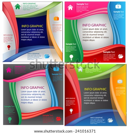 colorful modern cycle text box template for website computer graphic and internet, numbers. Set of color frames for text or quotes. brochure. many, various - stock vector