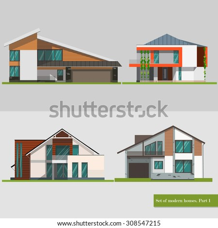 Colorful  Modern Flat Residential Houses   - stock vector