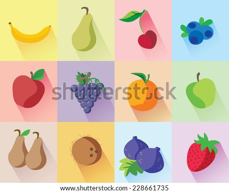 Colorful modern fruits set on different colors background: banana, green pear, cherry, blueberries, red apple, grapes, orange, green apple, brown pears, coconut, figs, strawberry with long shadow. - stock vector