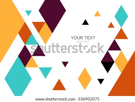 Colorful modern geometric abstract background template with designed ornament shapes. Vector pattern abstraction beautiful illustration with place for your text. Poster, business card, book, banner.