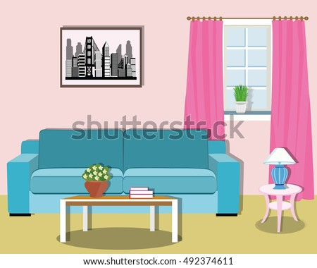 Living Room Furniture Cozy Interior Sofa Stock Vector