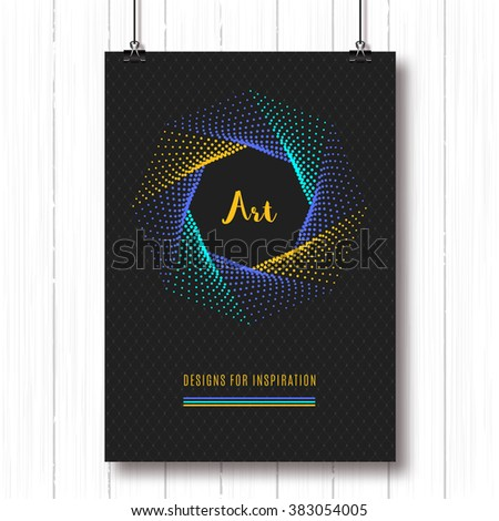 Colorful modern poster A4, pentagon halftone art design, vector logo. Geometric polygonal elements, shapes 3d, typography logo. Futuristic technology style halftone abstract background - stock vector