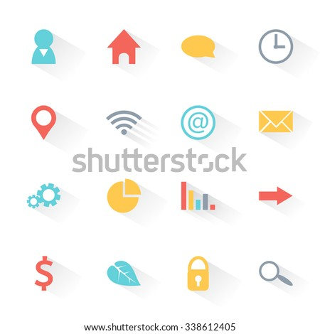 Colorful modern set of flat web icons with shadow for infographics: people, home, talk, time, geo location, wifi, web, e-mail, settings, pie chart, graphic, arrow, money, ecology, safety and search. - stock vector