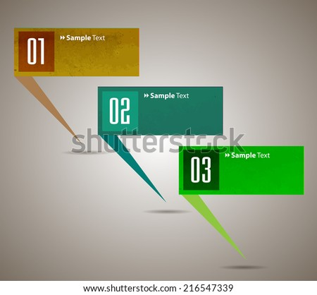 colorful modern text box template for website and graphic, numbers. old paper speech bubble.colorful modern text box template for website and graphic, numbers, icon. speech bubble. - stock vector