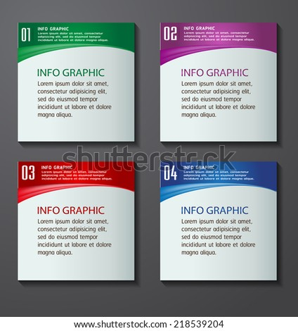 colorful modern text box template website stock vector 218539204