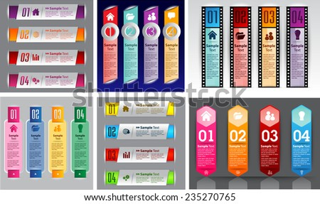 colorful modern text box template for website computer graphic and internet, numbers.  - stock vector