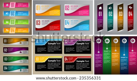 colorful modern text box template for website computer graphic and internet, numbers - stock vector