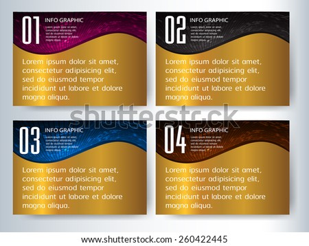 colorful modern text box template for website computer graphic and internet, numbers. Set of color frames for text or quotes. brochure. many. various. gold - stock vector