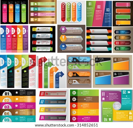 colorful modern text box template for website computer graphic and internet, numbers. Set of color frames for text or quotes. brochure. many, various. infographics - stock vector