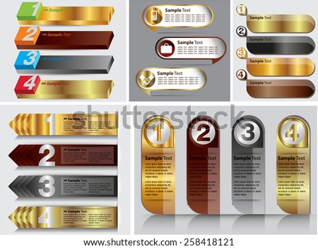 colorful modern text box template for website computer graphic business and internet, numbers. Set of color frames for text or quotes. brochure. many, various. gold silver - stock vector