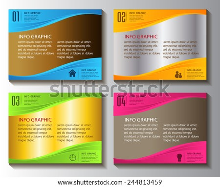 colorful modern text box template for website computer graphic technology and internet, numbers.  - stock vector