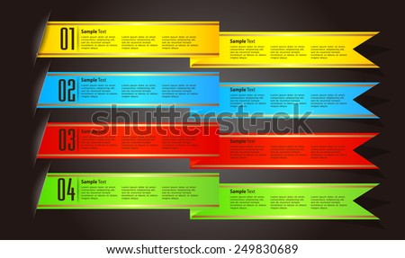 colorful modern text box template for website computer graphic technology and internet, numbers. ribbon